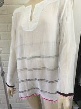 LEMLEM NWT Addis White Black Embroider Anthropologie Fringe Cotton Tunic Top SM