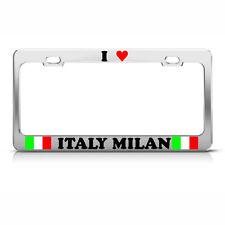 I LOVE HEART MILAN CITY ITALY FLAG Chrome Heavy Duty Metal License Plate Frame