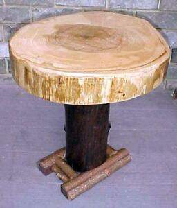 ORIG. rustic WILD ASH black WALNUT Farm-Pedestal Table~log home furniture~coffee