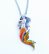 ORANGE MERMAID Mystica Fairy Necklace Faery Faerie Pendant
