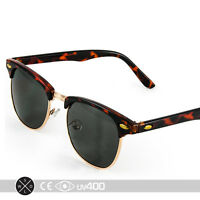 Half Frame Vintage Clubmaster Style Classic Sunglasses Black Tortoise RX S063