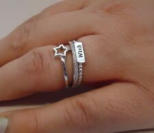 TRIPLE BAND WISH / STAR BAND W/ .75 CT LAB DIAMONDS/ SZ 5-9/ 925 STERLING SILVER