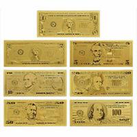 7 STÜCKE Goldfolie Banknote USA 1 Dollarschein Währung S Papier Metall Geld L2Z7
