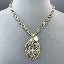 Unique Antique Gold Chain Hammered Silver Cross Pearl Pendant Necklace