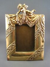 Ancien cadre miroir de table Bronze massif décor Angelot Putti Chérubin XIX ème