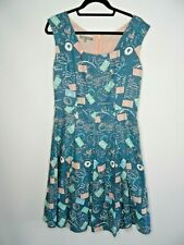 LAURA ASHLEY Linen Dress Size 12 Blue Pink Postcard Print 1950s Style