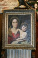 ANTIQUE OIL PAINTING, MADONNA AND CHILD ,ORIGINAL GILDED FRAME , CIRCA 1800