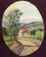 Antique impressionist oil painting rural landscape house