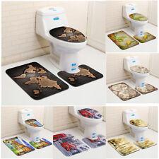 3Pcs/Set Bathroom Non-Slip Retro Map Pedestal Rug+Lid Toilet Cover+Bath Mat