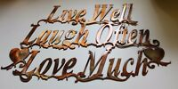 "Live Well Laugh Often Love Much Metal Wall Art Accents 15 "" wide x 9 1/4 "" tall"