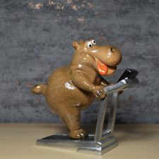 More details for comical hippo on the treadmill statue novelty figurine ceramic figure gift
