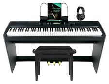Digital Stage Piano 88 Keys Weighted MIDI USB 3 Pedals Stand Bench Headset Set