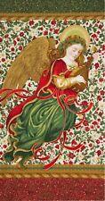 Holiday Flourish 9 Angel Panel Fabric Cotton Robert Kaufman Metallic Gold