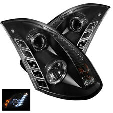 Fit Infiniti 03-07 G35 2Dr Black DRL LED Halo Projector Headlights Xenon Model
