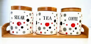 SET OF 3 CANISTER SET TEA COFFEE SUGAR POLKA DOT RED ROUND WITH WOODEN STAND