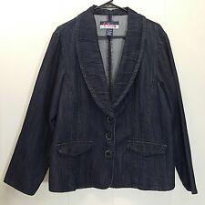 Wak Jeans 22 24 Jacket Blazer Jean Denim Blue Plus Size Dark Wash Big Buttons