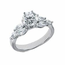 1.60 ct total 1 ct Round and 6 Marquise shape Diamond Engagement 14k Gold Ring