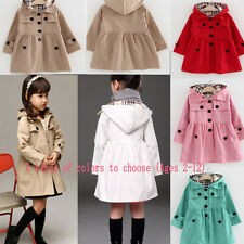 Girls Long Sleeve Casual Dress Jacket Kids Hooded Trench Coat Outerwear Age 2-10