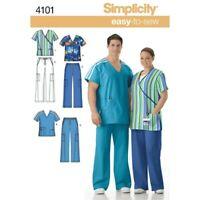 Simplicity Sewing Pattern 4101 Nurse or Doctor Scrubs BB Top & Pants XL - XXXL