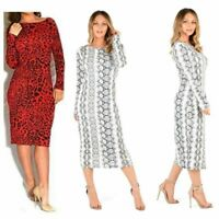 WOMEN'S LADIES LEOPARD SNAKE PRINT BODYCON LONG SLEEVE MIDI DRESS PLUS SIZE 8-22