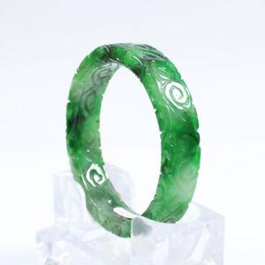 62mm Chinese Hand-carved Emerald Green Jade Jadeite Gems Bangle Bracelet a3869