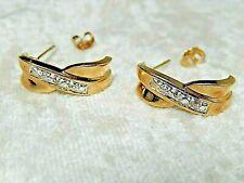Diamond Earrings 10 k Yellow Gold  3.8 Gr Pierced