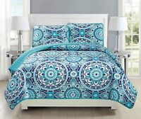Fancy Linen Over Sized Quilt Bedspread Floral Turquoise Teal Gray All Sizes New