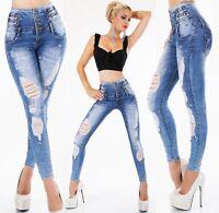 ORGINAL Damen High Waist Jeans Stretch Hose Röhrenjeans Destroyed Strass XS-XL