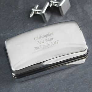 Personalised Silver Polished Cufflink Gift Box - Engraved Free - Birthdays, Dad