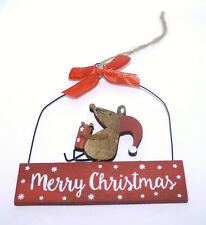 Sass & Belle Mouse Present Merry Christmas Hanging Plaque Wood Decoration Xmas