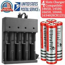 4x UltraFire 18650 Rechargeable Battery for Led Flashlight +4 Slot Smart Charger