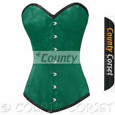 Steel Boned Long Torso Overbust Bustier Back Lacing Green Satin Corset Korset