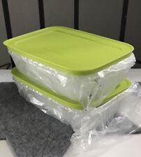 TUPPERWARE Gefrierbehälter 1,0 L grün-weiß flach 2x Eis-Kristall NEU OVP