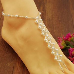 Bridal Faux Pearls Beach Barefoot Sandals Foot Toe Ring Ankle Bracelet Jewelr^lk