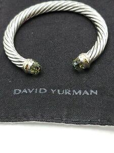 David Yurman 7mm Cable Classic Cuff Bracelet Prasiolite size small