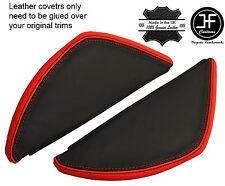 BLACK & RED LEATHER 2X DASH END SIDE TRIM COVERS FITS VW T5 TRANSPORTER 03-11