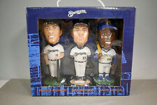2002 Milwaukee Brewers Hank Henry Aaron Sexson Ben Sheets Bobblehead In Box