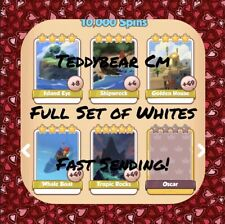 Coin Master Sinbad Set (White Cards) Whale Boat, Tropic Rocks Etc.. (Fast Send)