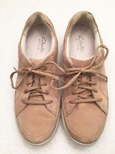 Women's Size 9.5 M CLARKS PRIVO Tan Leather Oxford Comfort Walking Sneakers