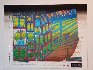 "HANDSIGNIERT Hundertwasser ""Nachtzug / Night Train"" Variante 4"