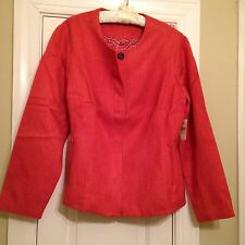 NWT 'Coldwater Creek' Orange/Rust Woven Long Sleeve Button Jacket - Size 16