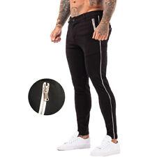 GINGTTO Mens Skinny Chino Trousers Super Stretch Slim Fit Black Golf Pant Zipper