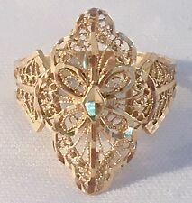 Vintage 14k Yellow Gold Filigree Diamond Cut Art Deco Cocktail Ring Size 11