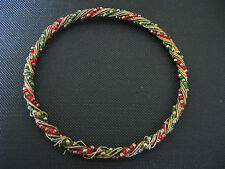 RED & GREEN BEADS ENTWINED WITH GOLD TONE WIRES THIN BANGLE BRACELET