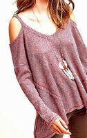 NEW NWT ANTHROPOLOGIE RED HEATHER SWEATER OPEN SHOULDER SHIRT TUNIC TOP XL