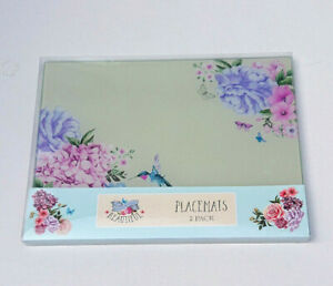 2 GLASS PLACEMATS Hummingbird Hydrangea BLOOMING BEAUTIFUL Rose FLORAL Rectangle