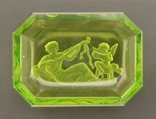 C.1800 Antique neoclassical etched emerald green glass intaglio cameo miniature