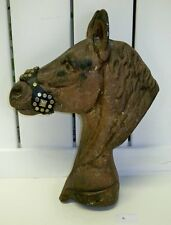 """Vintage Cast Aluminum Horse Head~Hitching Post Topper Cap~14""""H Painted~Rust Free"""