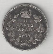 CANADA,   1903,  5 CENTS,  SILVER,  KM#13,  VERY FINE