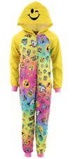 NEW Girls Size 6 Emoji Pajamas One Piece Hoodie Union Suit Blanket Sleeper Poop